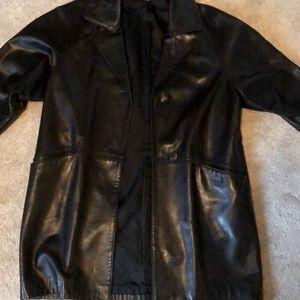 Classic long leather jacket